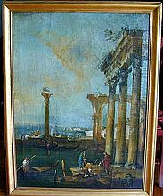 18thc Italian School Oil on CanvasDepicting ancient ruins with men along the shore of a lake; 47.25