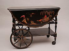 Tea cart, drop leaf oriental style with drawer