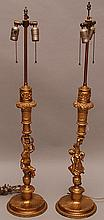 Pair of French 19th c. gilded bronze figural lamps, 37 1/2