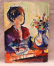 Eugenia Antipova attrib. (Russian 1917-) still life with figure, watercolor, signed in Cyrillic, size 11 ½ x 8 ¼