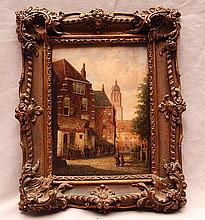 Petrus Gerardus Vertin  (Netherlands 1819 - 1893) , townview, oil on panel, 7