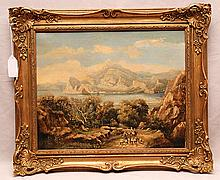 19th Century European School, oil on relined canvas, Mountain Lake Scene w/ figure on a path, 16-1/4