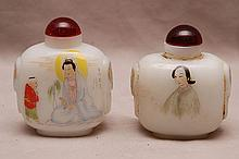2 large hand decorated snuff bottles