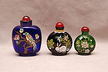 Collection of 3 Vintage glass snuff bottles, all with enameling, 2 1/8