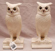 Pair of Boehm porcelain owls, 9 1/2