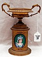 French Gilt Bronze Urn with enamel portrait painting, Approx. 8