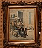Watercolor signed Mercie paris 1890, potter selling his wares, 18