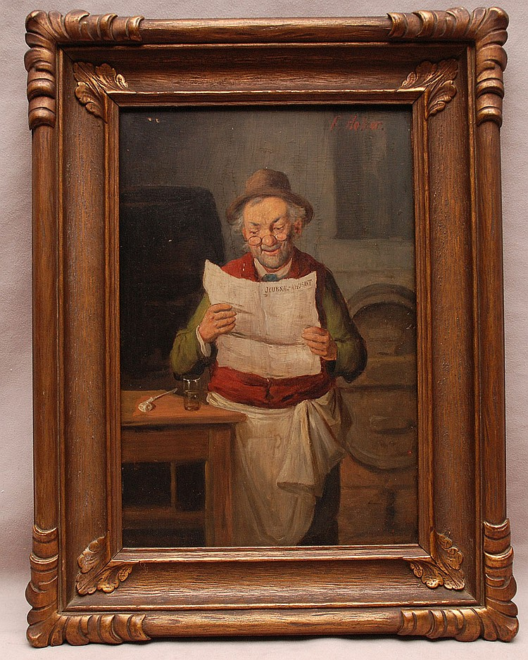 F. Holzer late 19th/early 20thCentury German School oil on panel, 12
