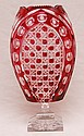 Ruby to clear cut glass large vase, 13 1/2