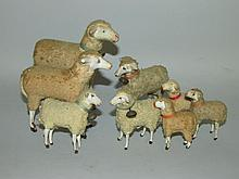 8 Putz-type wooly sheep