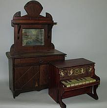 Toy wooden doll dresser & Schoenhut piano
