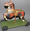 Walter & June Gottshall carved carousel horse pull toy