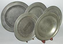 5 English pewter plates