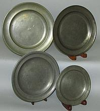 4 American pewter plates