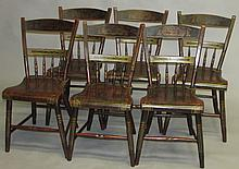 Set of six paint decorated half-spindle chairs