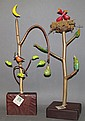 2 Russo folk art bird trees