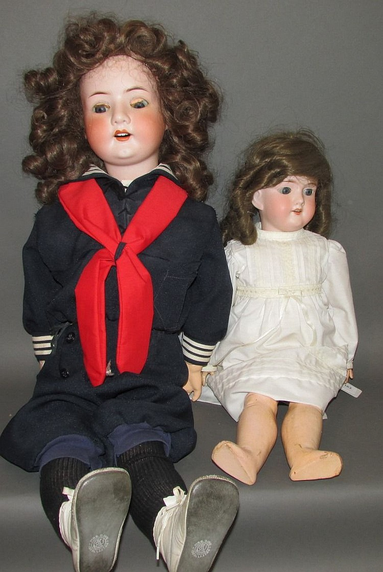 2 bisque head dolls