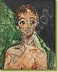 A. Simons. Huile sur toile: L'enfant au rideau