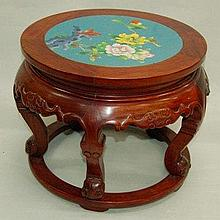 Chinese Rosewood Stand with Cloisonne Inlaid