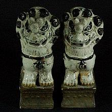 Pair of Chinese White Porcelain Lions
