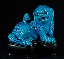 Old Chinese Blue Porcelain Lion on Wood Base