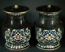 Pair of Black Cloissone Candle Stands