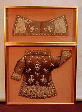 Pair of Qing Dynasty Clothes in Frames