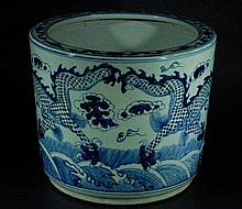 Huge Antique Chinese Blue and White Temple Incense