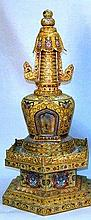 Large Tibetan Cloisonne Buddhist Tower