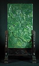 Carved Green Jade Table Screen with Stand
