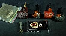 Group of Tobacco Items - Pipes & Case