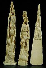 Group of 3 Old Carved Bone Pieces