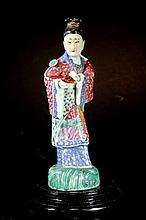 Chinese Enameled Porcelain Lady Statue