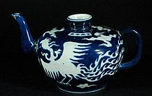 Small Chinese Blue Glazed with White Teapot