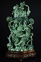Chinese jadeite carved Vase with Stand