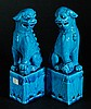 Pair of Blue Glazed Porcelain Lions