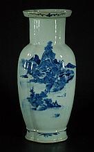 Large Qing Dynasty Blue and White Vase