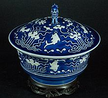 Qing Blue Glazed Bowl w/ Applied White Decoration
