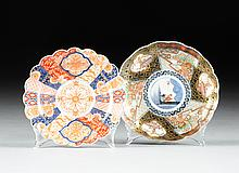 A SET OF SIX FUKAGAWA DISHES TOGETHER WITH A SET OF THREE IMARI SHALLOW BOWLS, LATE 19TH AND 20TH CENTURIES