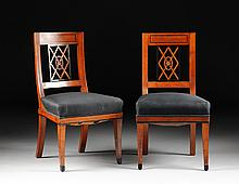 A PAIR OF BIEDERMEIER CARVED AND EBONIZED FRUITWOOD SIDE CHAIRS, EARLY 19TH CENTURY,