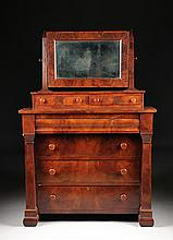 AN AMERICAN EMPIRE FLAME MAHOGANY DRESSER, 19TH CENTURY,