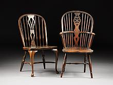 TWO OAK WINDSOR CHAIRS, ONE POSSIBLY 19TH CENTURY,