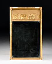 AN AMERICAN CLASSICAL PERIOD PARCEL GILT CARVED AND GESSOED WOOD MIRROR, SECOND-QUARTER 19TH CENTURY,
