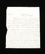 MARTIN VAN BUREN - AUTOGRAPH LETTER SIGNED 01/25/1843. MARTIN VAN BUREN, Former President, recalls recipient's speech in Congress after a colleague was killed in a duel by a fellow Congressman. Autograph Letter Signed: