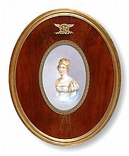 A CONTINENTAL POLYCHROME PAINTED PORCELAIN PORTRAIT PLAQUE OF A PRINCESS MAIDEN, POSSIBLY FRENCH, LATE 19TH/EARLY 20TH CENTURY,
