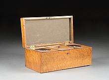 AN ANTIQUE AMERICAN RIBBON MAPLE TEA CADDY, 19TH CENTURY,