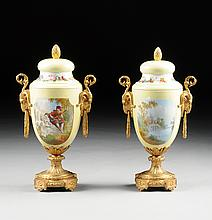A PAIR OF FRENCH SÈVRES STYLE POLYCHROME PAINTED YELLOW GROUND PORCELAIN DORÉ BRONZE COVERED URNS, 19TH CENTURY,
