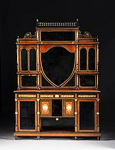 A VICTORIAN LOUIS XVI REVIVAL GILT BRONZE AND PORCELAIN MOUNTED BURL WALNUT AND EBONIZED WOOD SIDEBOARD CABINET, LOCKS STAMPED