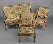 A FINE LOUIS XVI STYLE GILT WOOD AND AUBUSSON UPHOLSTERED SALON SUITE BY ANTOINE KRIEGER, MID 19TH CENTURY,