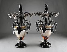 A LARGE PAIR OF VENETIAN BLACK AND MIRRORED GLASS TABLE LAMPS, 20TH CENTURY,